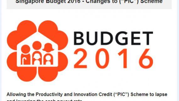 Singapore Budget 2016 – PIC Scheme